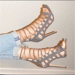 Gray Lace Up Heel